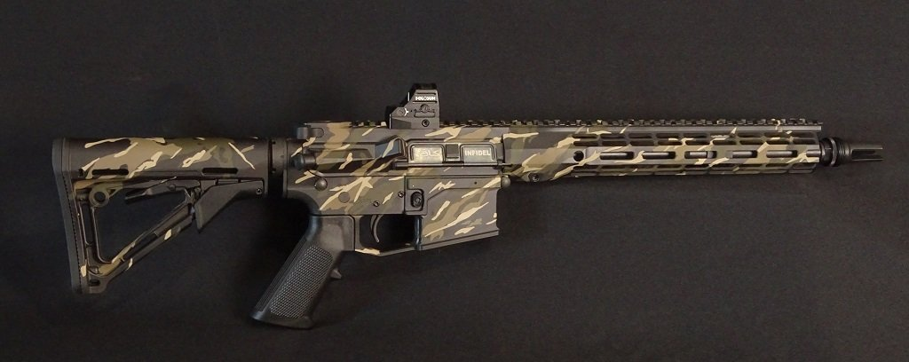 Camo Painting on this SBR was made with a sticker kit.