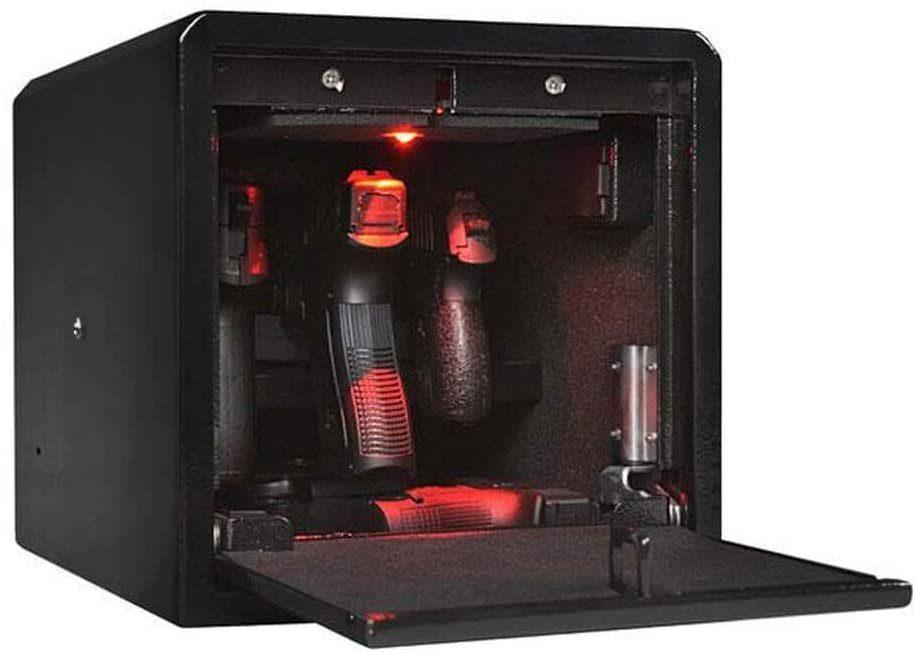 Biometric safe for multiple handguns