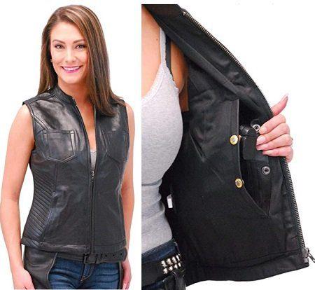 Jamin' Leather - Ladies Lambskin Leather CCW Zip Club Vest