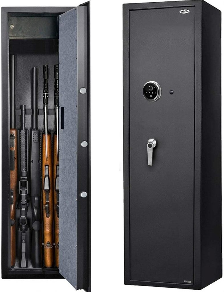 Five rifle gun storage with biomertic entry