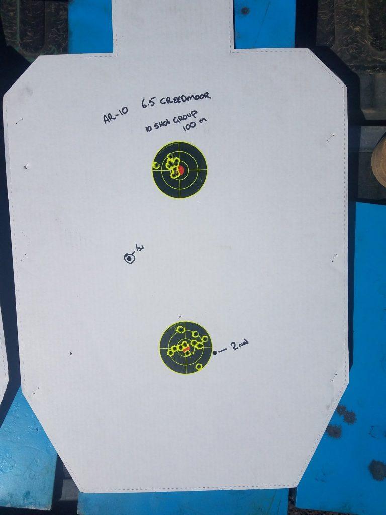 Target after test firing the rifle