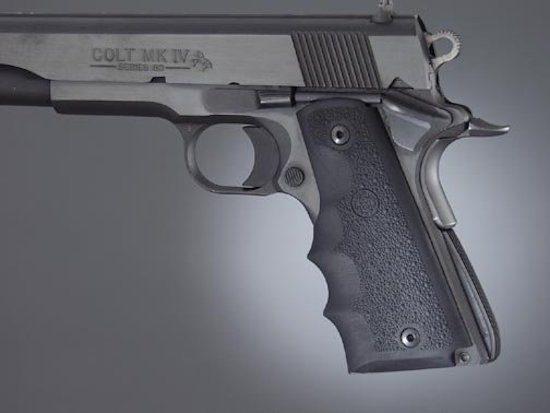 rubber hand grip on a 1911 pistol