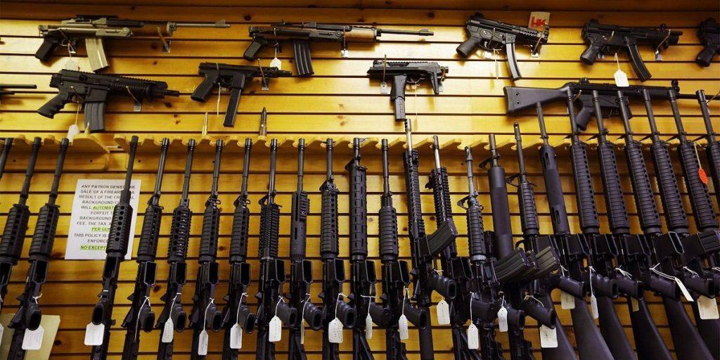 Gun Rack with AR 15 rifles